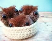 Amigurumi Crochet Owls in a Nesting Bowl