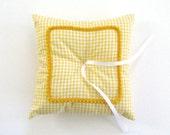 Yellow Gingham Ring Bearer Pillow