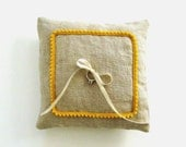 Gray and Yellow Ring Pillow - Sophisticated Chic Country Wedding Accessories