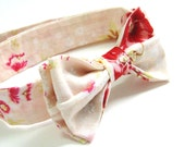 Blush Pink Boys Bow Tie with Tomato Red Wildflowers - Shabby Chic Wedding Fashion