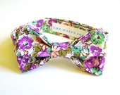 Boys Purple Bow Tie - 1930s Feedsack Floral Print