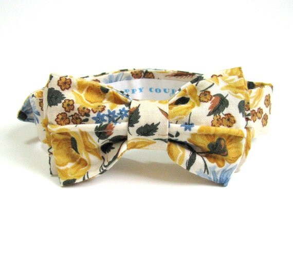 Yellow Retro Bow Tie Boys - Country Chic Ranch Wedding Wheat and Wildflowers Midwest Plains