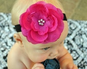 Hot pink headband, Newborn Headband, Baby Headband, Pink Flower