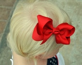 Red Bow in Clip- Toddler Girl, Baby- Valentine, Hair Bow