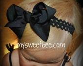 Bow Headband, Black Headband, Lace Headband, Black Baby Headband, Black Infant Headband