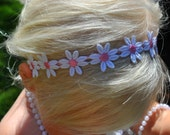 Pink and White Daisy Flower Headband- Newborn Toddler Headband- Hippie or Flower Child