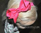 Pink Bow Headband, Bow Headband, Big Bow Headbands, Pink Baby Headband, Lace Headband