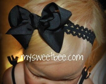Bow Headband, Black Headband, Lace Headband, Black Baby Headband, Black Infant Headband