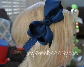 Navy Blue Headband, Blue Bow, Blue Bow Headband, Lace Headbands, Blue Baby Headband