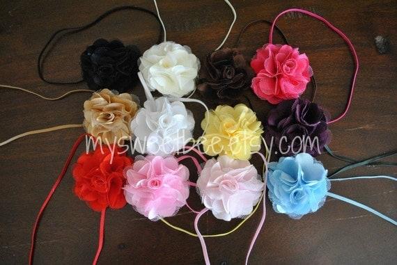 Skinny Baby Headband, Set of THREE petite satin tulle poof flowers on skinny headband- You Pick Colors