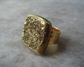 Gold Titanium Druzy Ring, Square Pillow Cut
