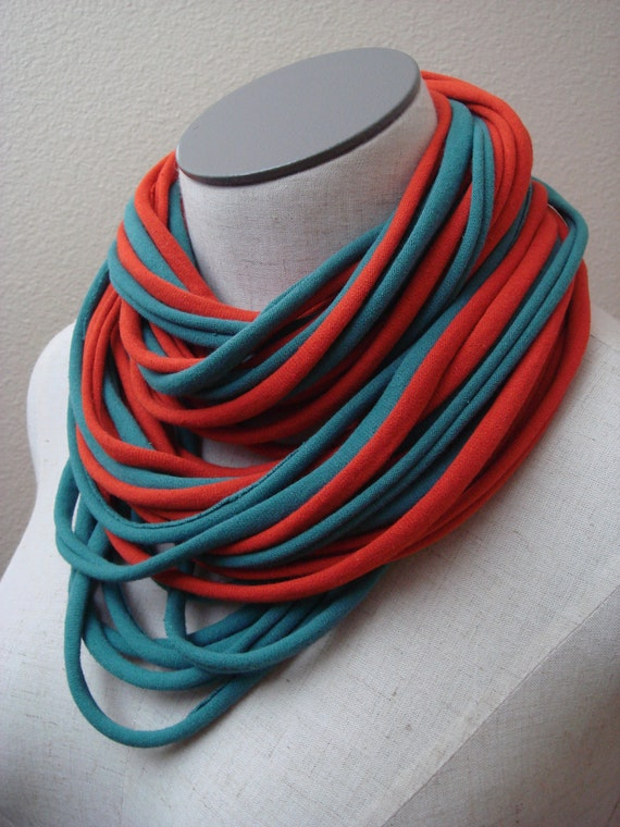 Jersey Cowl - Scarf - Necklace, Infinity Style, in Turquoise and Brick Cantaloupe