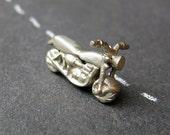 Tiny motorcycle miniature, 1976 Honda CB750 motorbike, handmade, white brass metal