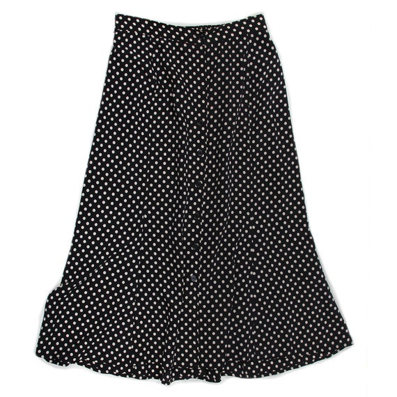 Navy Blue Polka dotted long skirt - size large