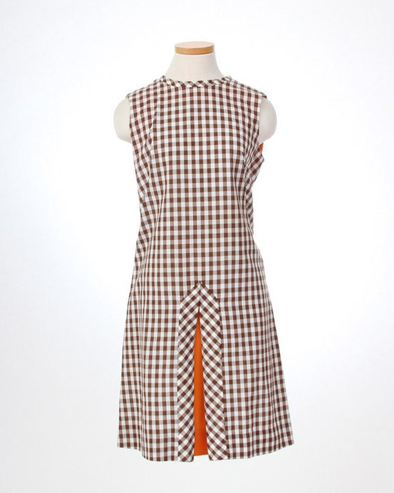 Brown Ginham plaid scooter dress - size medium / large