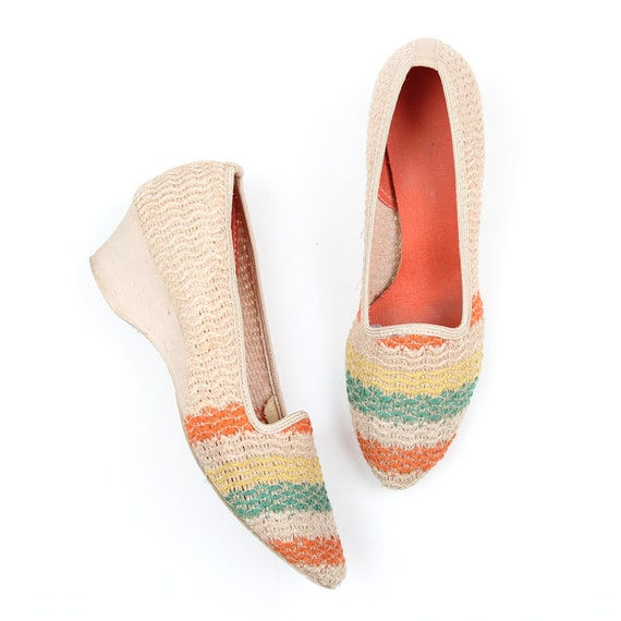 Vintage woven, striped Summer Wedges- size 5