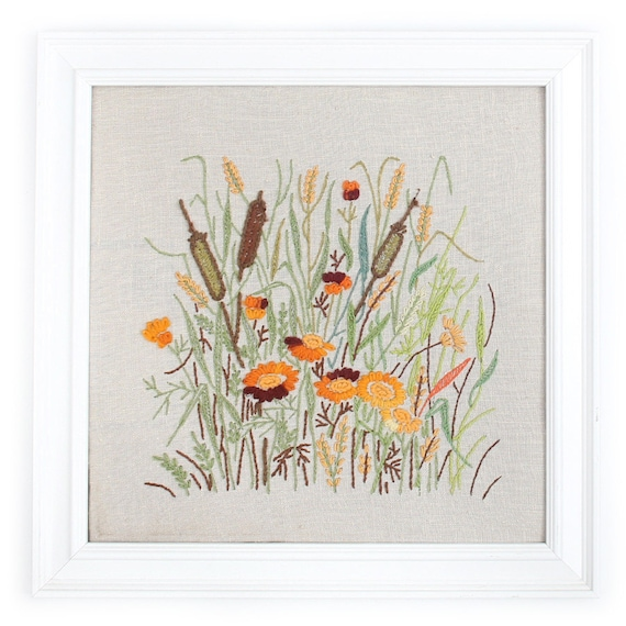 Kitschy Crewel Cattails Embroidered in a Square Frame - 13x13 inches