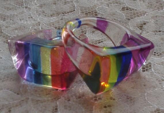 2 Mod Rainbow Lucite Rings - 60s
