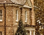 Snowy Christmas Home photo fine art  Metallic photograph 8x12