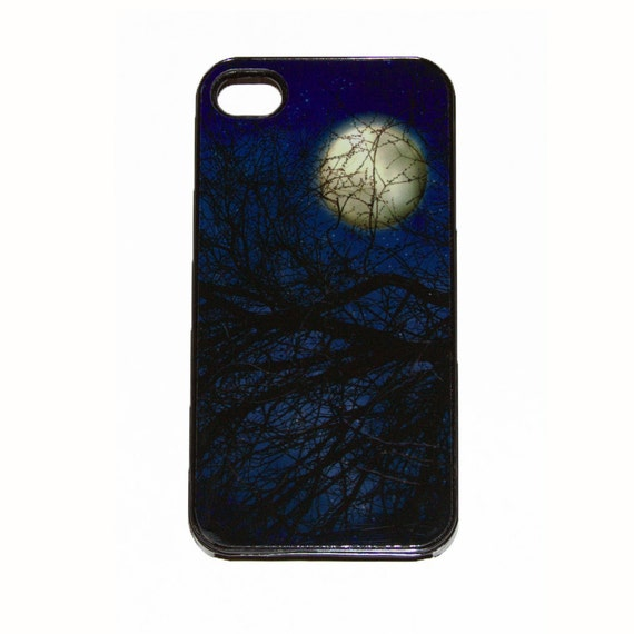 iPhone 4 4s black Case Blue Gothic Fantasy Textured Trees and Full Moon photograph