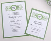 Green or Red Wedding Invitation with Monogram - Sample Set