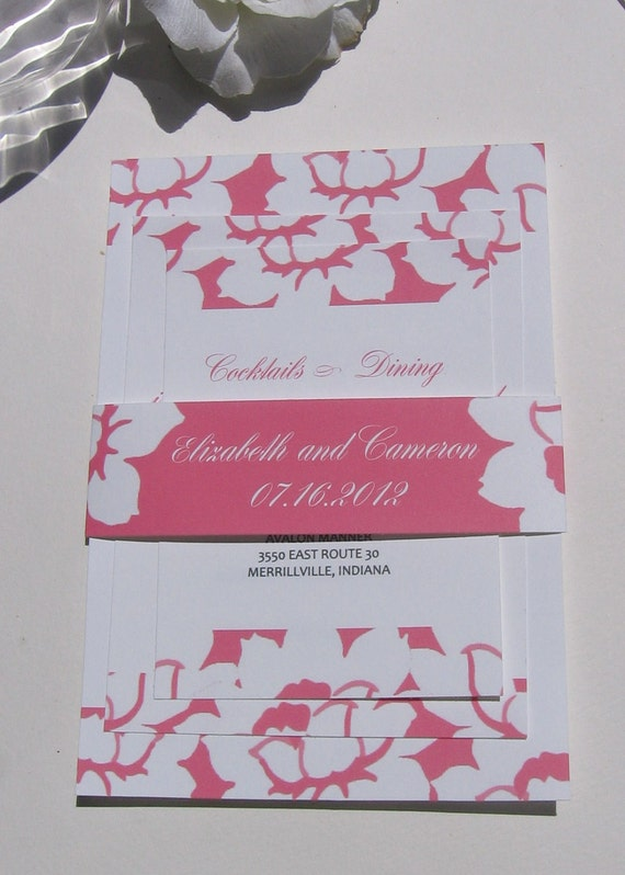 Wedding Invitation Watermelon Pink Flowers-Sample Set