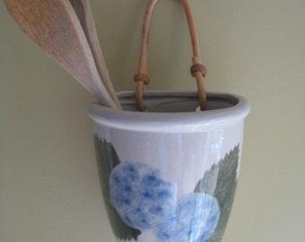 Hydrangea Wall  Vase- ceramic- wicker  SALE