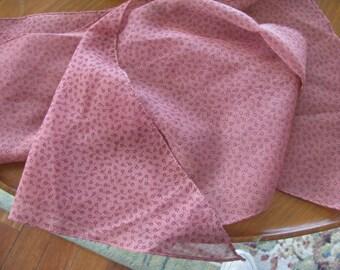 Vintage Burgandy Pink Flower Scarf  SALE