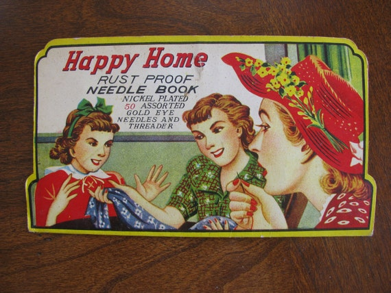 Vintage Needle Book----Happy Home