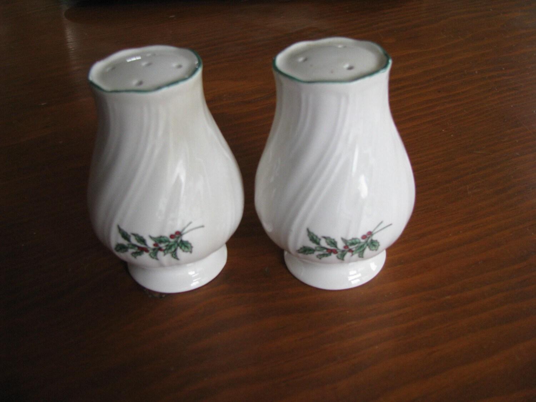 Vintage Salt And Pepper Shakers Holly Design Sale