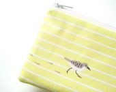 Pastel Yellow Sandpiper Mini Zippered Pouch