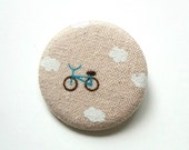 Electric Blue Bicycle and Clouds Fabric Button Pin