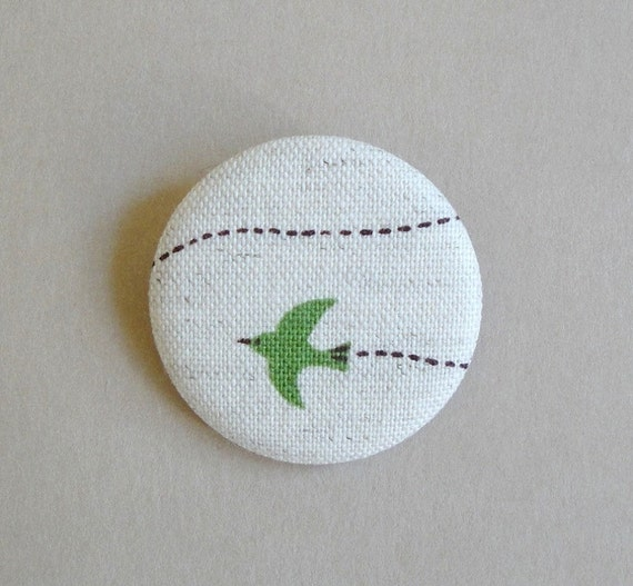 Flying Olive Green Bird Fabric Button Pin