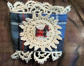Clan MacRae tartan wrist cuff with vintage doilie lace and scottie button