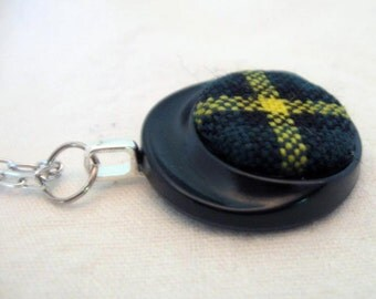 Clan MacNeil Modern wool tartan vintage button pendant on silver chain