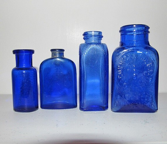 Vintage Small Cobalt Blue Medicine And By Mountainviewmemory