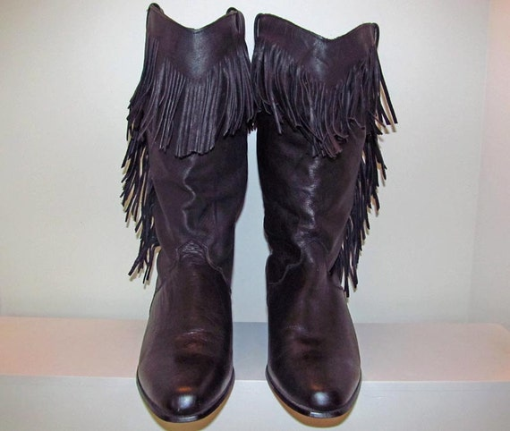 Dingo black leather cowboy boots with sexy fringe size 9 women