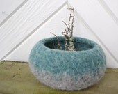 Felted Two-Tone Bowl - Teal and Gray - Home Decor - REDUCED PRICE