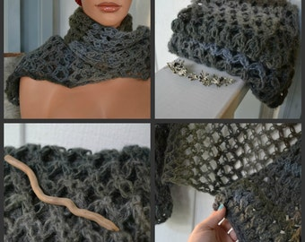 Gray Shrug Scarf Wrap Wool Blend-Crocheted-  3 Quarter Sleeves-Driftwood-Ready to Ship