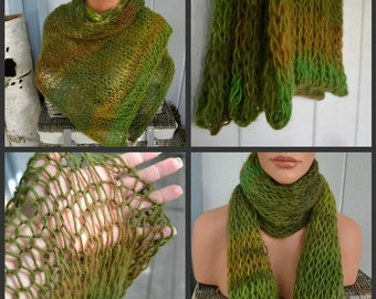 Soft Loose Knit Wool Blend Scarf/Wrap/Shawl/Photo Prop-Rain Forest Green-Ready to Ship