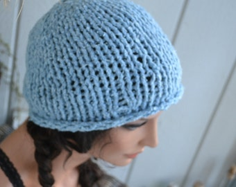 Knit Beenie Hat with Fingerless Gloves- Sky Blue- Llama Cotton Blend - Soft -READY TO SHIP