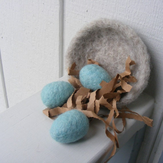 Felted Nestlike Bowl and Eggs-Montessori or Home Decor-Made to Order