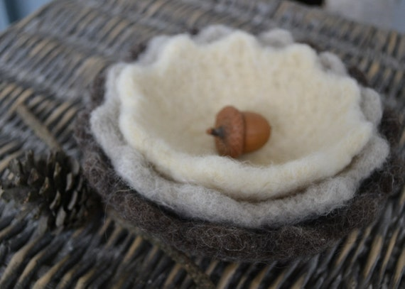 Scalloped Felted Nesting Bowls-READY TO SHIP-Home Decor- Set of 3