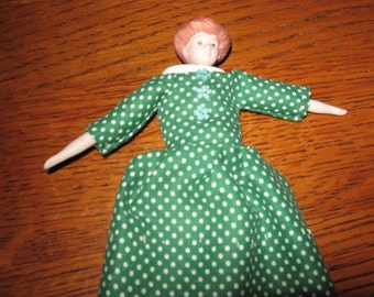 Vintage Miniature Frozen Charlotte Doll Dressed in Green for Doll House Christmas in July Sale