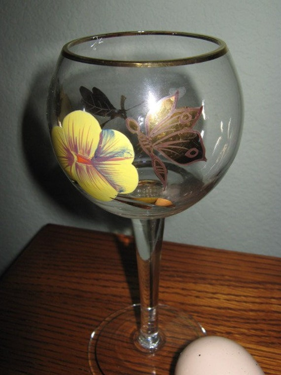 Vintage Hand Painted Wine Glasses
