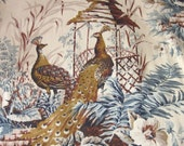 Vintage Curtains with PEACOCKS - Large and Long