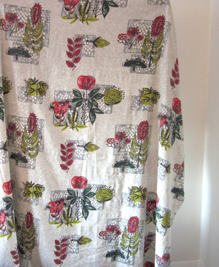 Vintage 1950s Barkcloth Curtain Panel With Atomic By