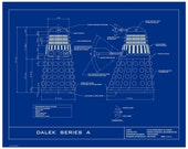 """Dr. Who Dalek Humorous 16x20  Limited Edition Blueprint Poster.  """"No Flying Daleks Here"""""""