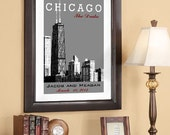 Wedding Poster - Wedding Anniversary Date - Chicago Skyline 20x30 Wedding Poster - Style A - Choose your City