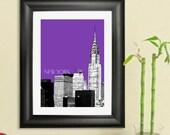 New York City Skyline Poster - Chrysler Building Art Print, 8x10 - Choose your color